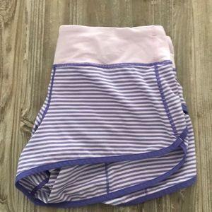 Purple striped lululemon speed shorts